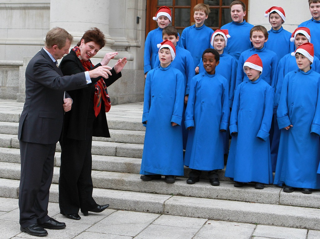No Repro Fee  Karen Morgan Photography    Taoiseach conducts the choir with Blanaid Murphy   TAOISEACH MEETS PALESTRINA CHOIR    Taoiseach Enda Kenny will meet the boys of the Palestrina Choir ahead of their annual Christmas Carol Concert which takes place in The National Concert Hall 5th December 2013.  ADDITIONAL INFORMATION  A Magical Christmas with the Palestrina Choir  Thursday, 5th of December at the National Concert Hall     Celebrate the glory of Christmas with the angelic voices of the Boys and the Gentlemen of the renowned Palestrina Choir. This yearly sell-out event will take place on Thursday, the 5th of December in the National Concert Hall, Dublin and is one for the whole family to enjoy.     The Palestrina Choir will be joined by IrelandÕs leading brass ensemble Dublin Brass, Professor Emeritus Head in Music at NUI, Maynooth and resident organist, Dr. Gerard Gillen, Junior Probationer Choristers and harpist, Denise Kelly. The magical show will be conducted by Musical Director, Bl‡naid Murphy, produced by Noel McDonagh and joined by compere for the night, Mary Kennedy.     The Palestrina Choir gained national applause after receiving an invitation to perform for the late Pope Benedict at the Papel mass in St.Peters Cathedral, Rome.  The choir accepted the invitation and in January of this year were the third choir in history to be invited to perform with the Sistine Chapel Choir, following in the footsteps of the prestigious Westminister Abbey and Westminster Cathedral choirs.     Do not miss this magical evening of well-known and festive carols and Christmas music ranging from carols such as Remember, O Thou Man by Ravenscroft to the much-loved and evocative The Lamb by John Tavener, to all the traditional favourites including, Hark! The Herald Angels Sing and Adeste Fideles.     Tickets to see Christmas with the Palestrina Choir are priced from Û20 and are available from the National Concert Hall. NCH Box Office:  01 417 0000 or book online at w