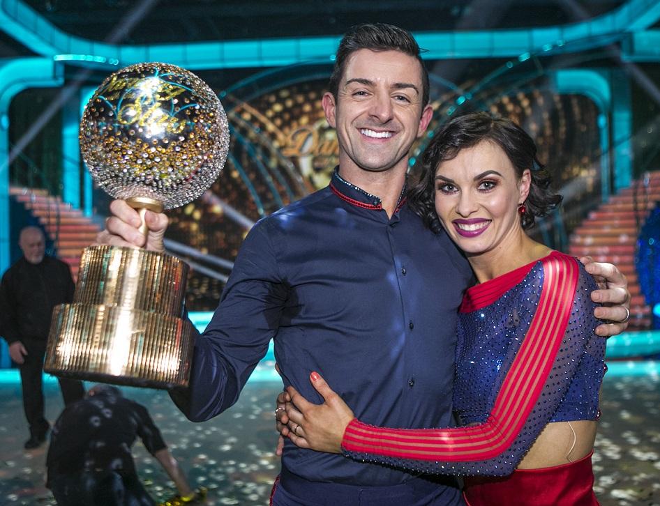 Aidan O'Mahony & Valeria Milova , celebrate winning  the  Final of RTE's Dancing with the stars.
